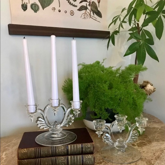 Antique Crystal Candle Holder Set